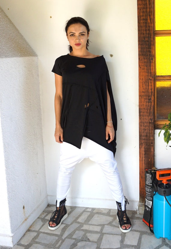 Alternative Loose top / Loose Extravagant tunic / Black Fashion Oversized Avant Garde tunic / Pagan Wear / Party Tank Top