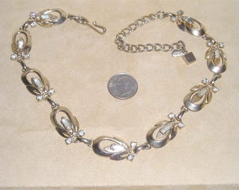 Vintage Signed Tara Baguette Rhinestone Choker Necklace Early 1950's Jewelry 11021