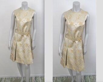 Vintage 60s Mod Harvey Berin by Karen Stark Brocade Box Pleat Dress 34B