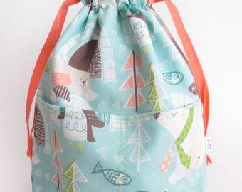 Small Reversible Drawstring Project Bag