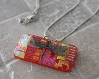 Fused glass dichroic pendant, bold fused glass pendant, dichroic dragonfly, dichroic glass pendant, dichroic, Jewelry, Pendant, Necklace,