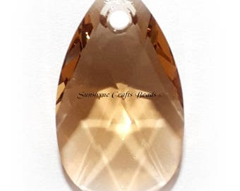 Swarovski Crystal Beads 6106 LIGHT COLORADO TOPAZ Pear Shaped Pendant 1 Pc -  16mm & 22mm Available