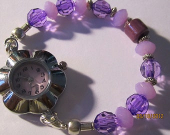 Purple Interchangeable Beaded Band/ Med. ID Bracelet..(28).  with A Quartz Watch Included...