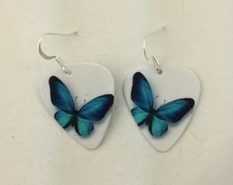 Blues butterfly guitar pick earrings