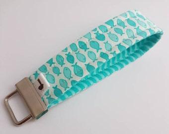 Wristlet key fob key chain wristlet lanyard fabric key fob key ring key lanyard cute fish teal gift