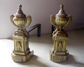 Antique French Andirons, iron firedogs with cast brass / bronze fronts urn on a pedestal