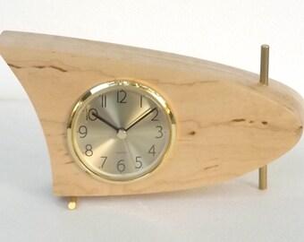 Danish Modern Mid Century Modern Boomerang Table Clock, Maple