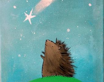 Woodland Hedgehog Catching a Falling Star Art Print Wall Nursery Decor Cute Whimsical Animal
