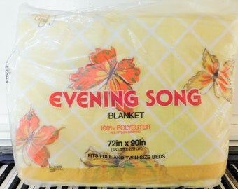 """1960-70's, 100% Polyester, NEVER Been Used!  """"New"""" in Package, Yellow Butterfly,  Full/Twin Blanket, Made in USA"""