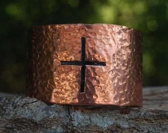 Hand Hammered Copper Cuff, Cross Cuff, Copper Cuff, Cherokee Made