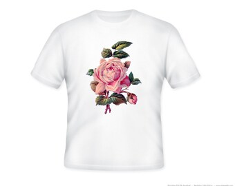 Beautiful Vintage Pink Rose Illustration on Adult Tshirt  -- other tshirt color and personalization available - adult sizes S-3XL
