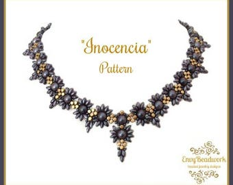 """Beading Pattern: """"Inocencia"""" Necklace in English D.I.Y."""