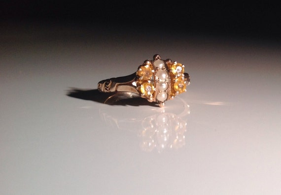 1885 10 KT Gold Yellow Tourmaline and Natural Pearl Ring Antique