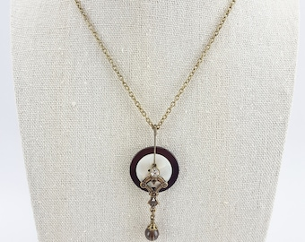 Layered Antique Button Necklace with Smoky Quartz Drop