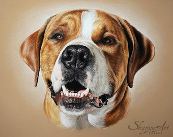 Portrait of your dog • custom pet portrait from photos • animal Skyzune ART, artist