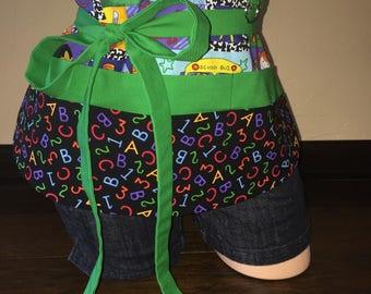 Black and Green School Half Waist Pocket Apron
