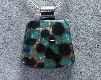 Fused Glass Pendant Hand Crafted in WI, USA Chain Included