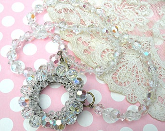 vintage crystal necklace assemblage upcycled vintage jewelry winter ice twinkle romantic cottage chic
