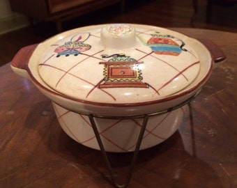 Rare Vintage Mid Century Fred Roberts Bowl w/Lid and Wire Rack