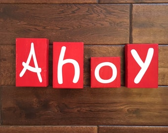Wooden Letter AHOY Blocks - Nautical Themed Distressed AHOY Blocks - Room Decor