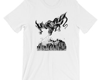 Fire Breathing Mother of Dragons burning a town cool custom design T-Shirt. Dragon, Game Of Thrones fans and collector T-shirt
