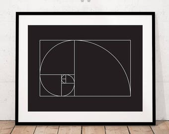 Fibonacci black and white, Fibanacci Print, Fibonacci Spiral Print, Fibonacci Illustration, Mathematical Golden Ratio, black and White