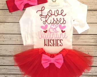 Baby Girls Clothes, Valentines bodysuit, Love Kisses & Valentine Wishes Bodysuit, Valentines Bodysuit, Valentines Shirts, Girls Valentines