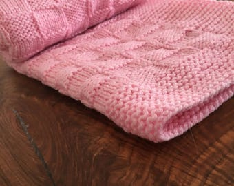 Hand knitted baby blanket for buggy Baby shower gift Girl newborn gift Handmade baby gift Newborn blanket Soft baby blanket for stroller