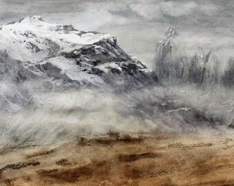 Mountain landscape painting watercolor, Original watercolour Mountain landscape wall art, Snowy Mountain landscape watercolor, Gift for him