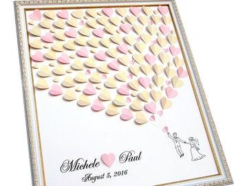 Wedding Guest Book Alternative - Caramel & Light Pink Wedding GuestBook Ideas - 3D Wedding Tree