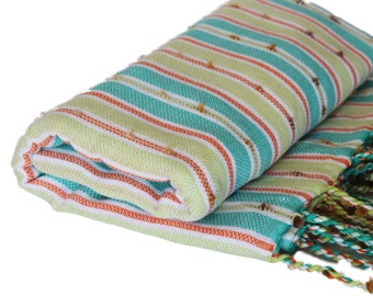 Mint Green Peshtemal Bath Sheet, Thin and Absorbent Turkish Towel, Large Beach Towel or Yoga Blanket, Lightweight Camping and Hiking Towel