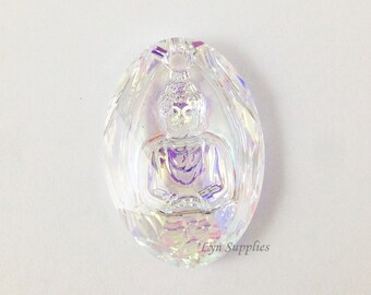 6871 CRYSTAL AB 28mm Swarovski Crystal Buddha Pendant 1pc
