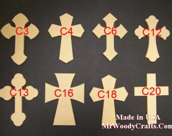 """9"""" x 12"""" 1/4"""" Thick Unfinished Wooden Crosses, No keyholes, Choose from 8 different styles, Ready to Paint, 091225"""