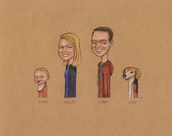 Custom Family Portrait - 4 Figure Option - Custom drawing - Custom Illustration - Custom Portrait