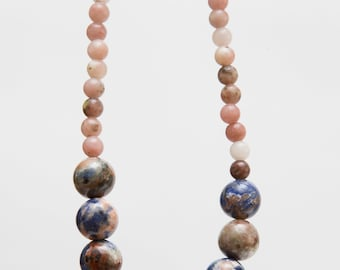 Earthy chrysocolla and lepidolite 17 in. Statement necklace