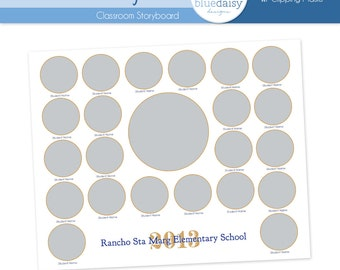 8x10 Classroom Storyboard Circles  (Class Size 22) - Photographer Resources
