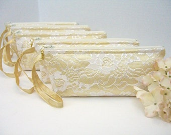 Set of 5 - Gold Satin Clutch- Ivory Lace Clutch - Gold Wedding Clutch - Gold And Ivory Clutch - Gold Bridesmaid Clutch - Gold Bridal Clutch