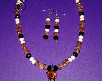 Honey, Black and Cream Penguin Lampwork Pendant Necklace and Earring Set