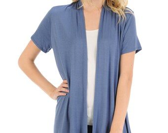 Short Sleeve Open Front Vest Denim