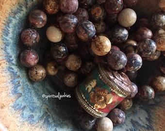 Picture Jasper, Leopard Skin Jasper + Tibetan Prayer Wheel Mala | 108 Beads | Handknotted | Spiritual Junkies | Yoga + Meditation