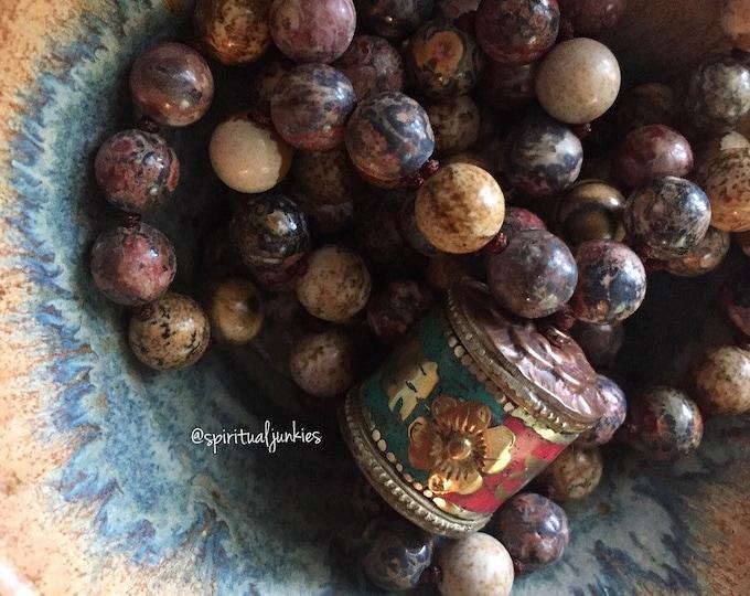 Wisdom Mala | Picture Jasper, Leopard Skin Jasper + Tibetan Prayer Wheel | 108 Beads | Handknotted | Spiritual Junkies | Yoga + Meditation