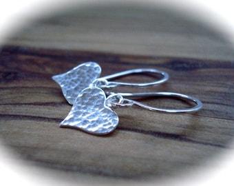 Tiny silver earrings - Sterling silver heart earrings - Small silver earrings - Hammered silver - Gift for her - Heart jewellery