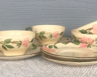 Desert Rose Franciscan China, Set Of Four Cofee Cups And Saucers Made In California, Antique  China, Cups And Saucers, Drinkware, Tea Cups,