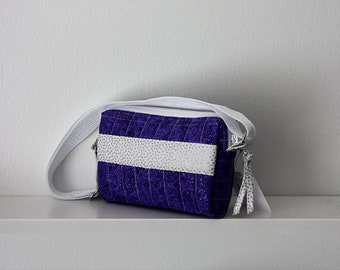 Purple and White Small Quilted Purse, Small Purse, Quilted Purse, Purple and White Purse