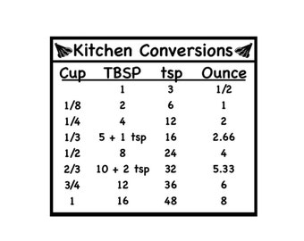 Kitchen Conversions Chart Vinyl Decal - Wall Decor - Kitchen Wall Decal - Cabinet Decal - Craft Decal - DIY Decal