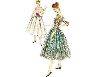 1950s Dress Pattern, Simplicity 2297, Sleeveless or Long Sleeve Lace Dress with Full Skirt & V Back, Vintage Sewing Patterns
