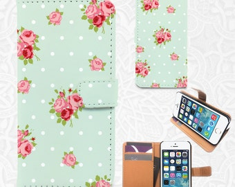 Mint floral iPhone/smartphone flip PU leather Wallet case for iPhone 6, 6 plus, 5, 5s, 5c, 4, 4s- Samsung Galaxy 6S S5 S4 S3, Google Pixel