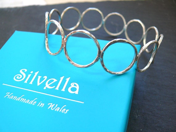 Sterling Silver Circles Bangle - Gift From Wales