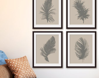 Feathers (Series A4) Set of 4 - Art Prints (Featured in Gravel on Soft Truffle ) Feather Wall Art