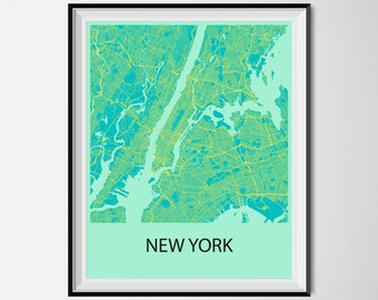New York Map Poster Print - Blue and Yellow